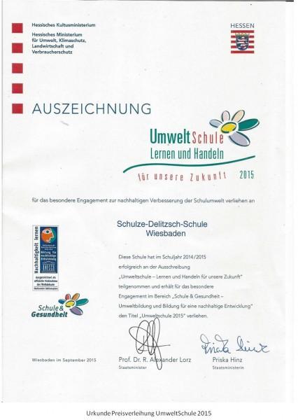 Urkunde UmweltSchule 2015